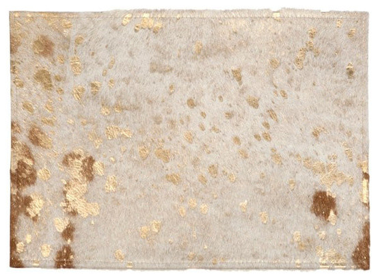 Cowhide Gold Placemats Contemporary Placemats By