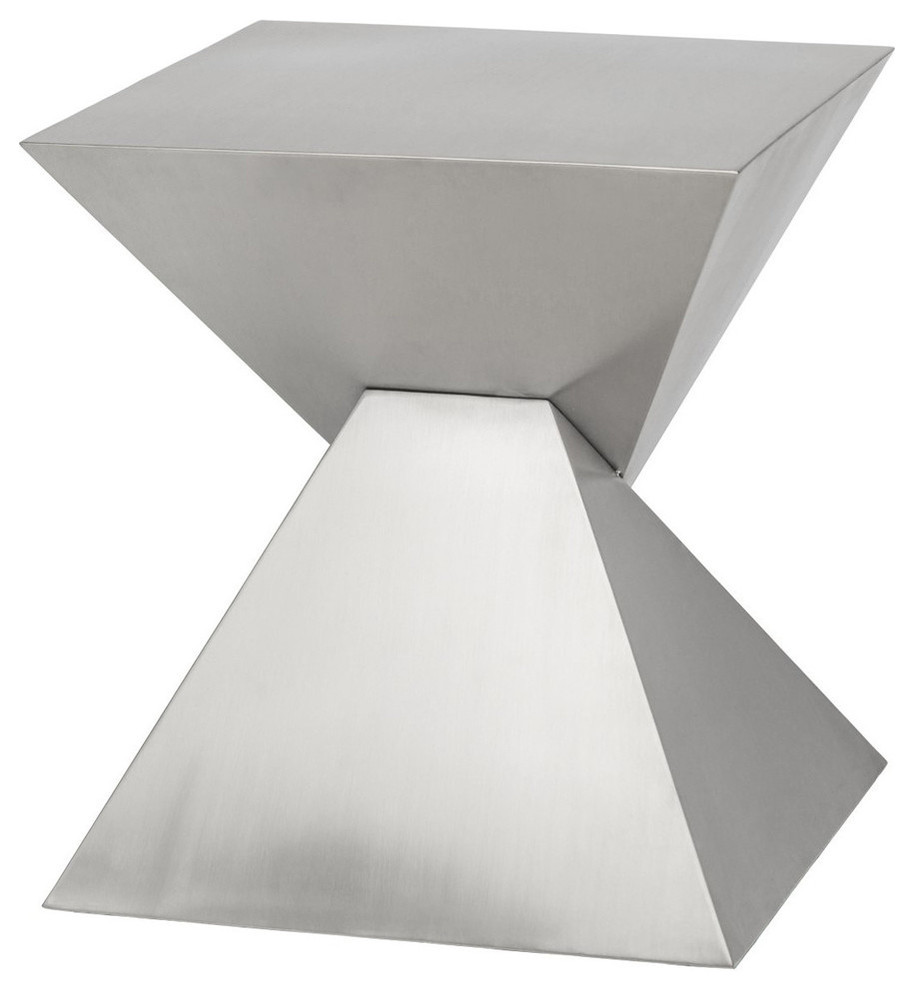 - Giza Side Table, Brushed Stainless Steel End Table, Modern Accent