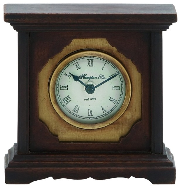 Contemporary Tabletop Clocks Mango Wood Table Clock Brown Brass Trim Old  Fashioned Home Decor Desk Online