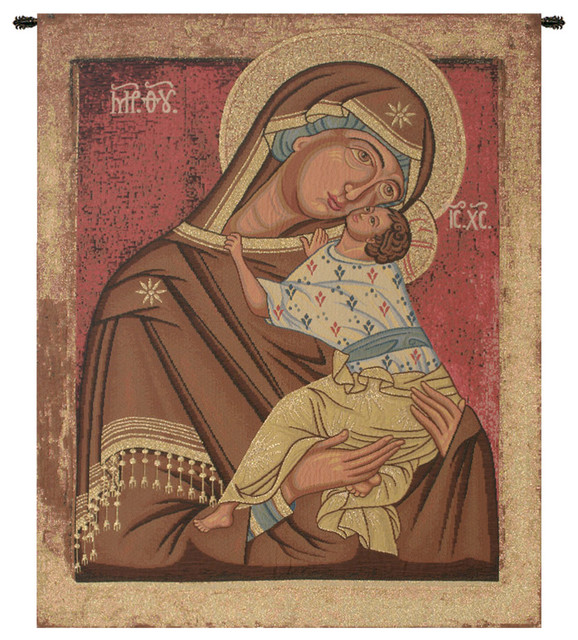 """Icon Madonna, Wall Tapestry, 22""""x16""""."""