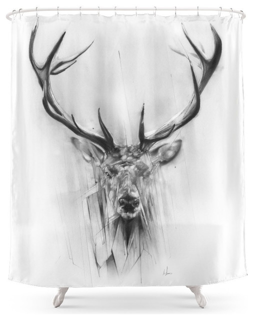Society6 Red Deer Shower Curtain Rustic Shower