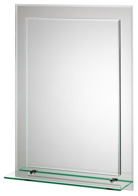 "Bathroom Mirrors Beveled Edge rydal beveled edge double layer wall mirror, 20""lx16""w"