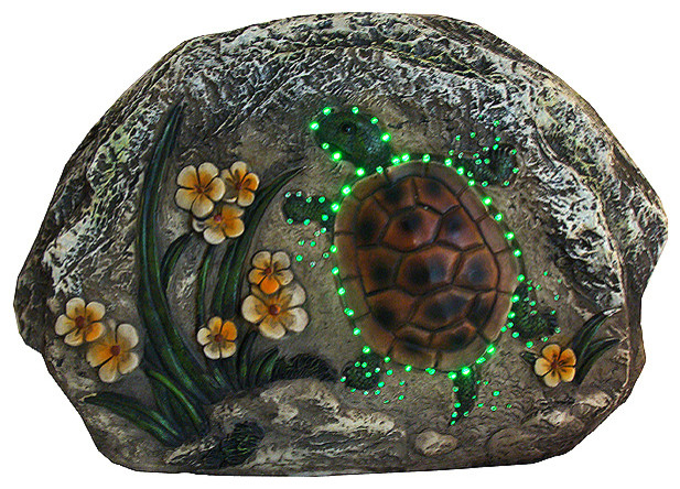 7 Led Lighted Solar Ed Turtle And Flowers Outdoor Garden Stone Beach Style Statues Yard Art By Northlight Seasonal