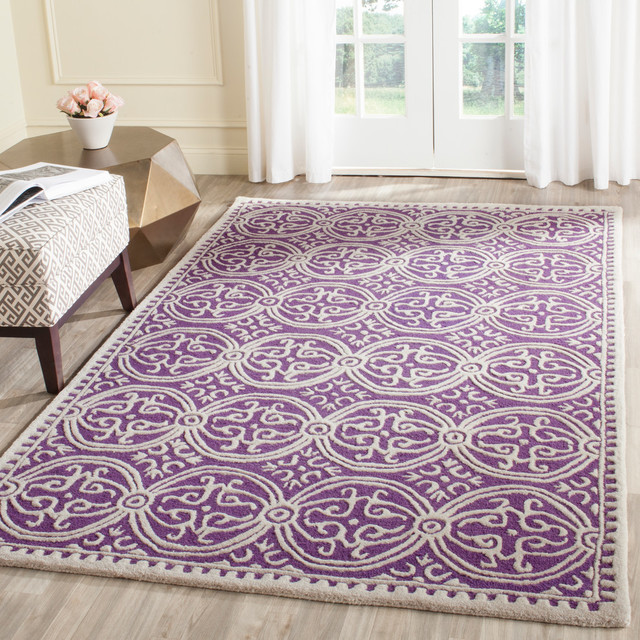 Safavieh Pasquale Hand Tufted Rug, Purple And Ivory, 30x72.