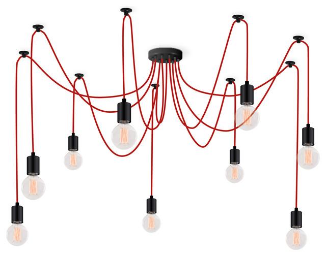 9-Globe Spider Pendant Light, Red