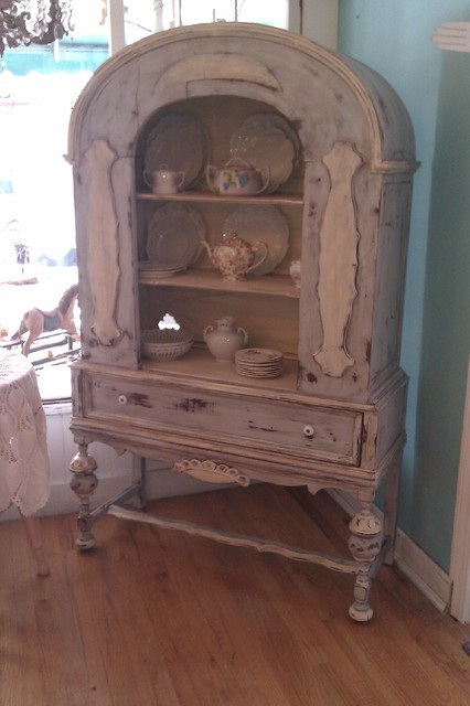 Antique China Cabinet In French Blue Distressed