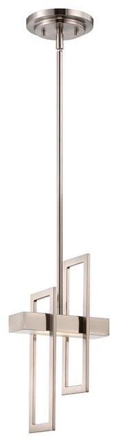 Frame 1-Light Pendants, Brushed Nickel.