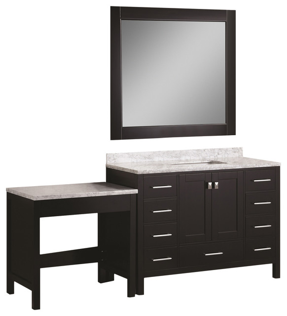 London 48 Single Sink Vanity Set With Make Up Table Contemporary Ba