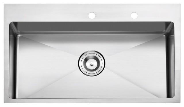"Nemo Stainless Steel Overmount Kitchen Sink, Single Bowl, 33"". -1"