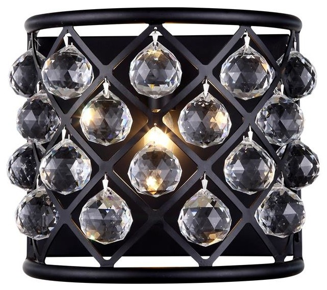 Clear Crystal Wall Sconces : Elegant Lighting Madison 1-Light Mocha Brown Wall Sconce Clear Crystal - Wall Sconces Houzz