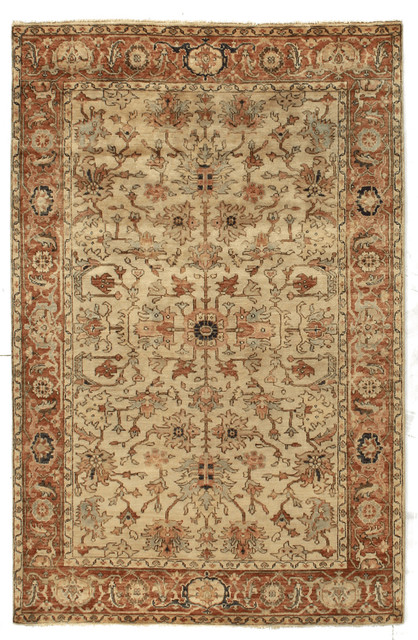 Piruz Serapi Rug, Red And Beige, 9u0027x12u0027 Traditional Area