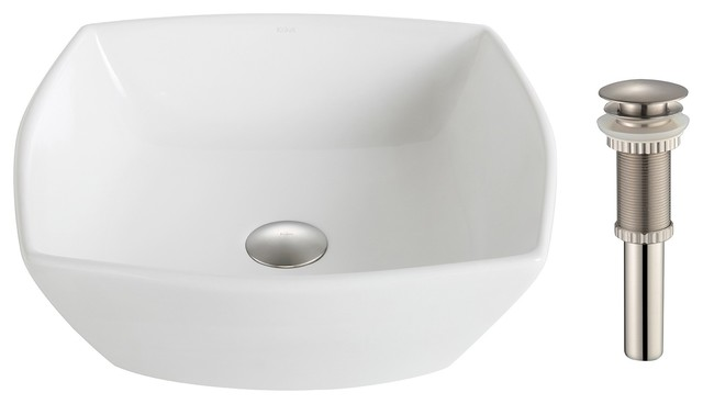 Elavo Ceramic Flared Square Vessel Sink With Pop-Up Drain, White, Brushed Nickel.