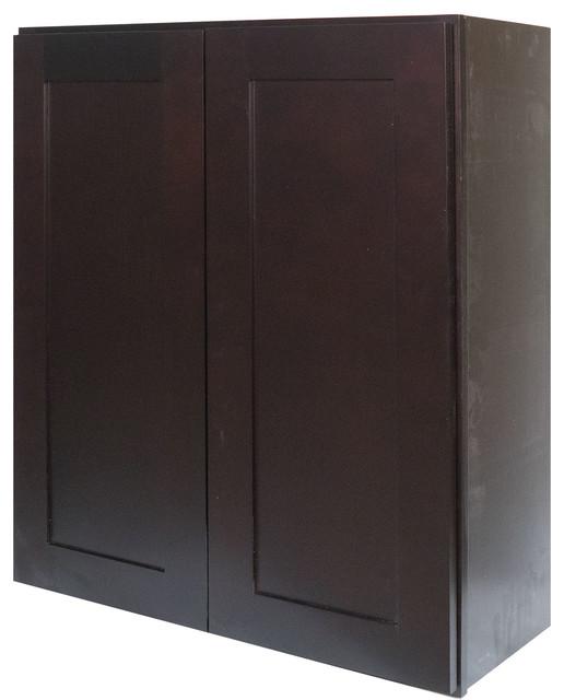 Dark Espresso Shaker Double Door Wall Cabinet - Contemporary - Storage Cabinets - by Everyday ...