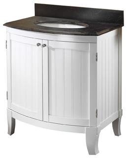 "Bellani 30"" Premium White Bathroom Vanity with Midnight Pearl Granite Top"