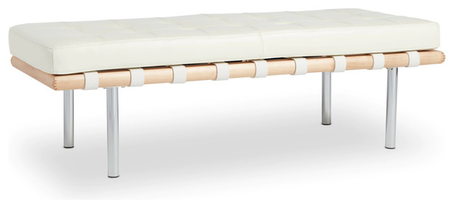 50 Long Modern White Leather Bench
