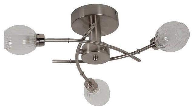 Regal 3-Way Semi Flush Ceiling Light, Satin Nickel