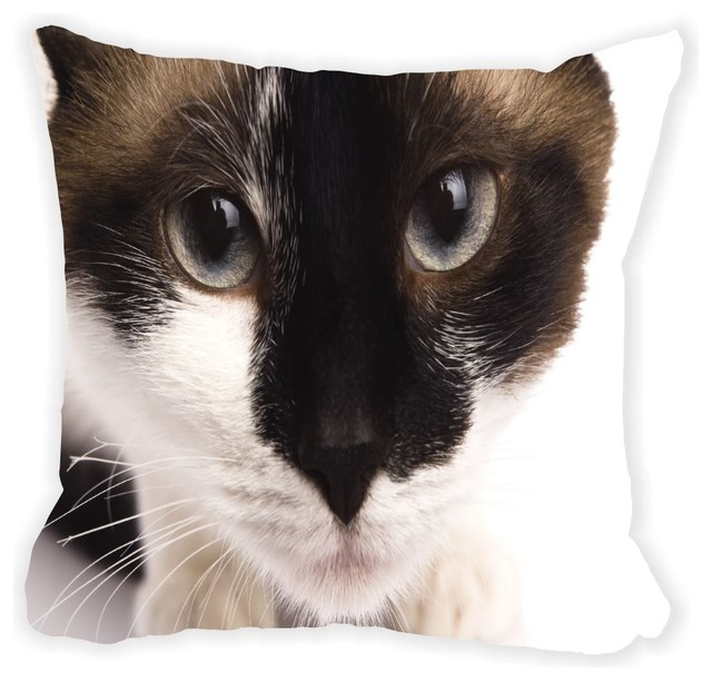 Brown Microfiber Throw Pillows : Rikki Knight LLC Brown and White Furry Cat Face Close-Up Microfiber Throw Pillow - Decorative ...