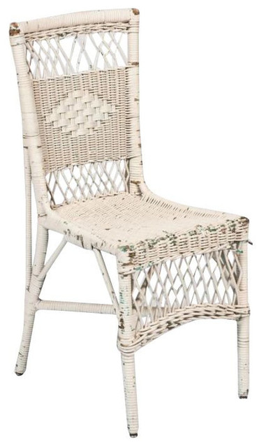 Vintage White Wicker Chair   $450 Est. Retail   $125 On Chairish.com