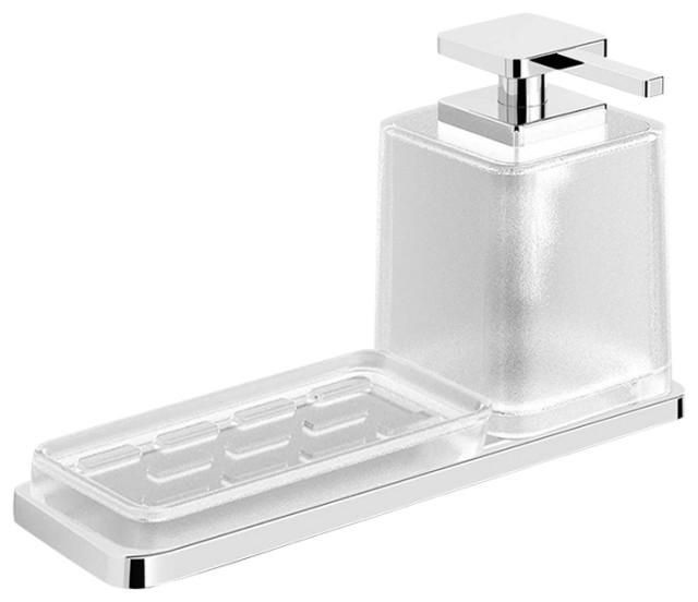 Harmoni Series Wall Mounted Holder With Soap Dispenser Dish Kit, Polished Chrome