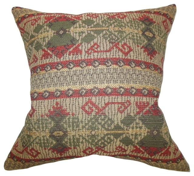 Red Southwestern Pillow : The Pillow Collection - Egle Geometric Pillow Green Red - View in Your Room! Houzz