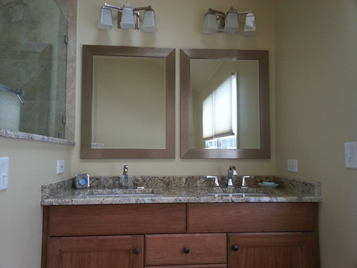 "Bathroom Mirror Not Over Sink 60"" double vanity- what to do with mirrors and lighting"