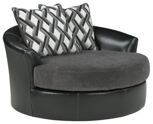 Kumasi Oversized Swivel Accent Chair, Smoke 3220221