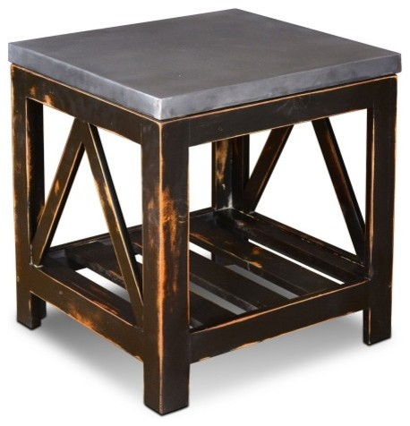 Distressed Solid Wood End Table With Galvanized Top
