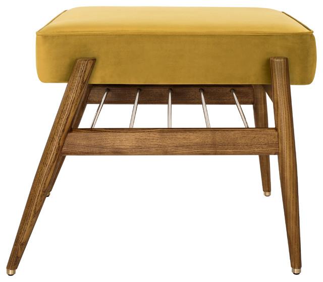 Fox Velvet Shine Footstool, Mustard Yellow