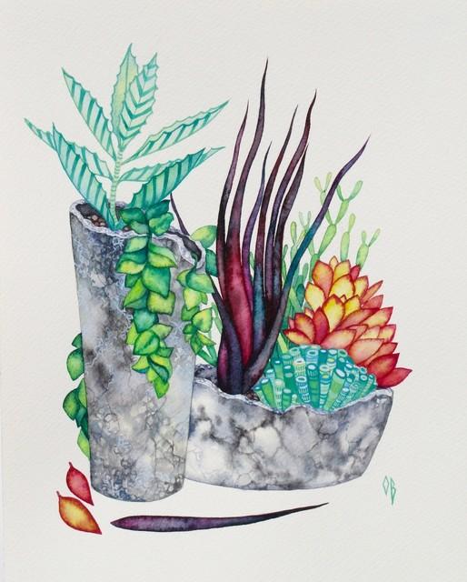 Succulent Watercolor Painting, Original Art