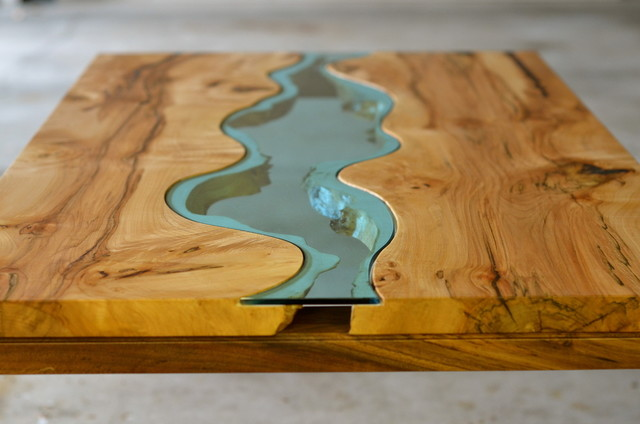 Live edge wood coffee table with Glass River