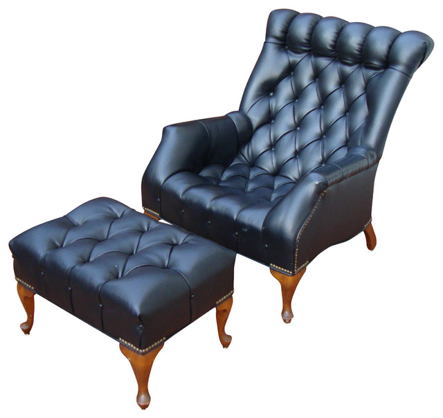 Bon Consigned Mid Century Tufted Black Leather Chair And Ottoman