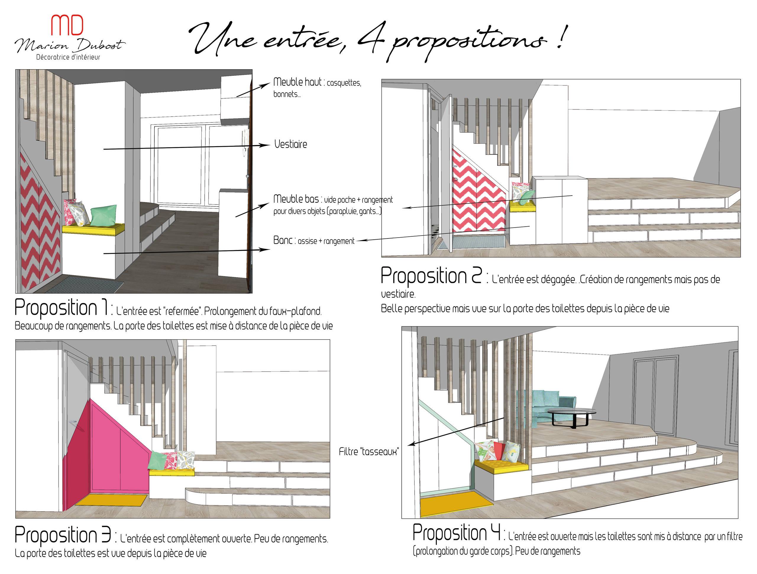 4 propositions d'aménagements pour une entrée