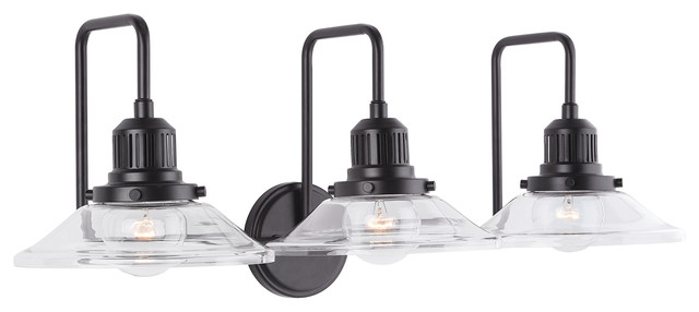 3 Light Vanity With Matte Black Finish Industrial Bathroom Vanity Lighting By Capital Lighting Fixture Co