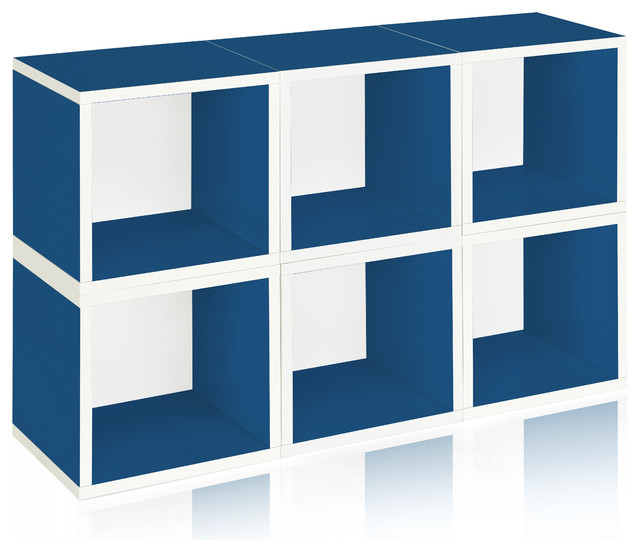 Keaton Stackable Storage Cube Set, Pack Of 6, Blue