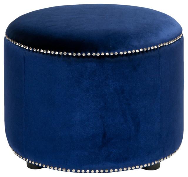 Hogan Ottoman, Royal Blue Velvet