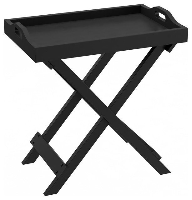 Lavish Home Folding End Table With Removable Tray Top, Black