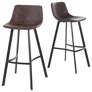 Rex Faux Snake Leather Brown Bar Stools Set Of 2 Midcentury And Counter By Gdfstudio