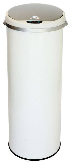 iTouchless Deodorizer Round Sensor Trash Can Matte Finish, Pearl White,13 Gallon