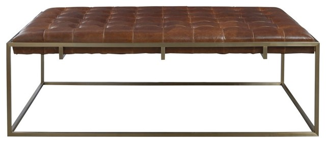 Travers Cocktail Ottoman Brown Leather