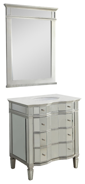 30 All Mirrored Ashley Bathroom Vanity And Mirror Fwm025 3040 Bs Transitional Bathroom