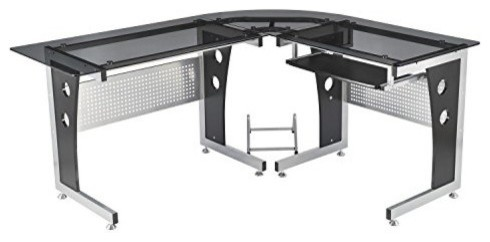 Homcom Modern L-Shaped Glasstop Office Workstation Computer Desk, Black.