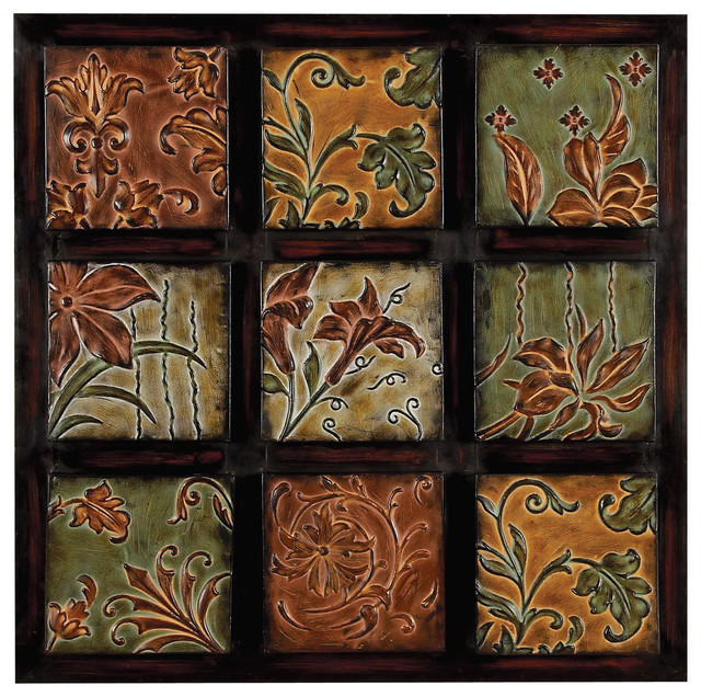 Traditional Wall Art traditional metal floral squares wall decor - farmhouse - metal