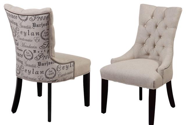 Merveilleux Fortnum Tufted Nailhead Parsons Chairs, Set Of 2, Script Fabric