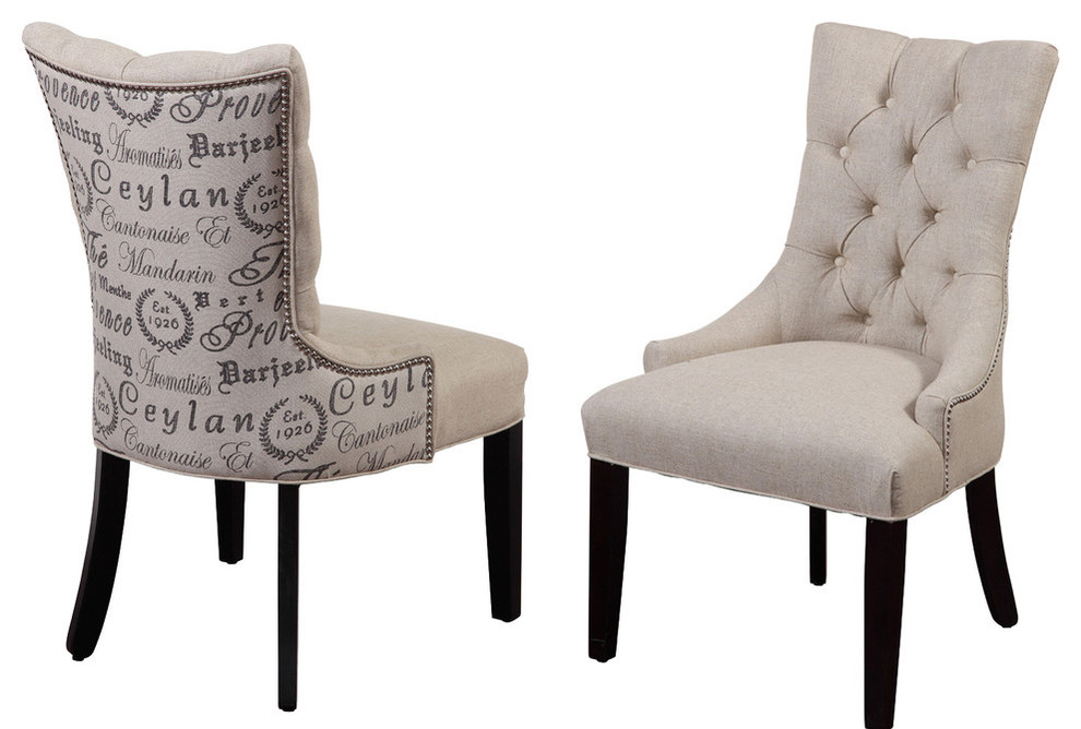 Fortnum Tufted Nailhead Parsons Chairs, Set of 2, Script Fabric