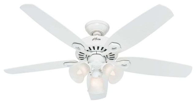 "Hunter Fans 53236 Builder Deluxe 52"" Ceiling Fan In Snow White."