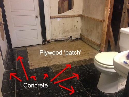 How To Seal Big Gaps In Concrete Plywood Subfloor - Plywood for bathroom subfloor