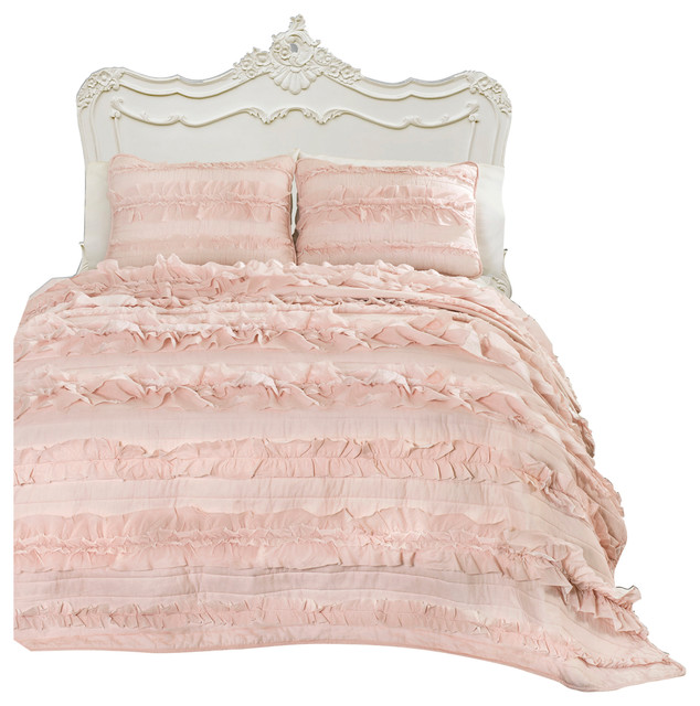Eloise Blush Pink 3 Piece Quilt Set Traditional Quilts And Quilt