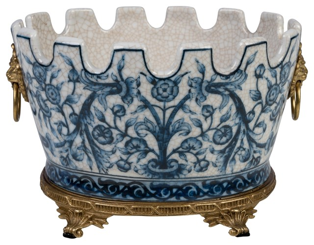 Oval Blue and White Floral Chinoiserie Crackle Scallop Rim Porcelain Pot Ormolu
