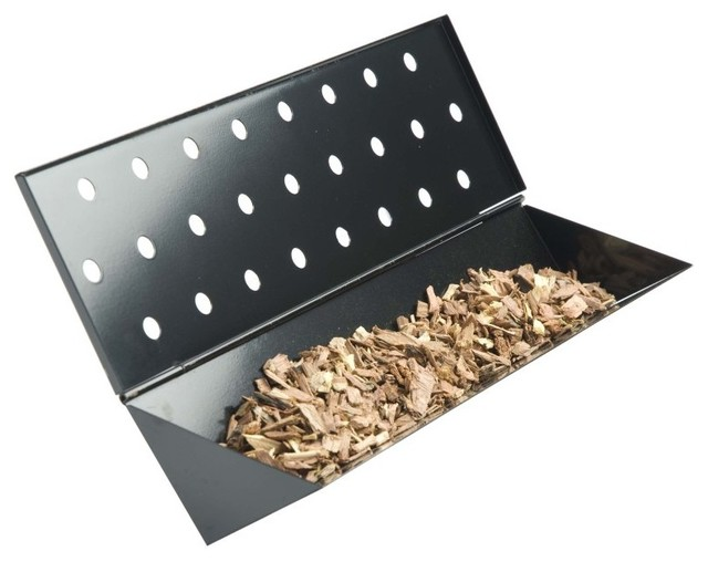 Charcoal Companion Porcelain Coated Stainless Steel Gas Grill Long V-Smoker Box.