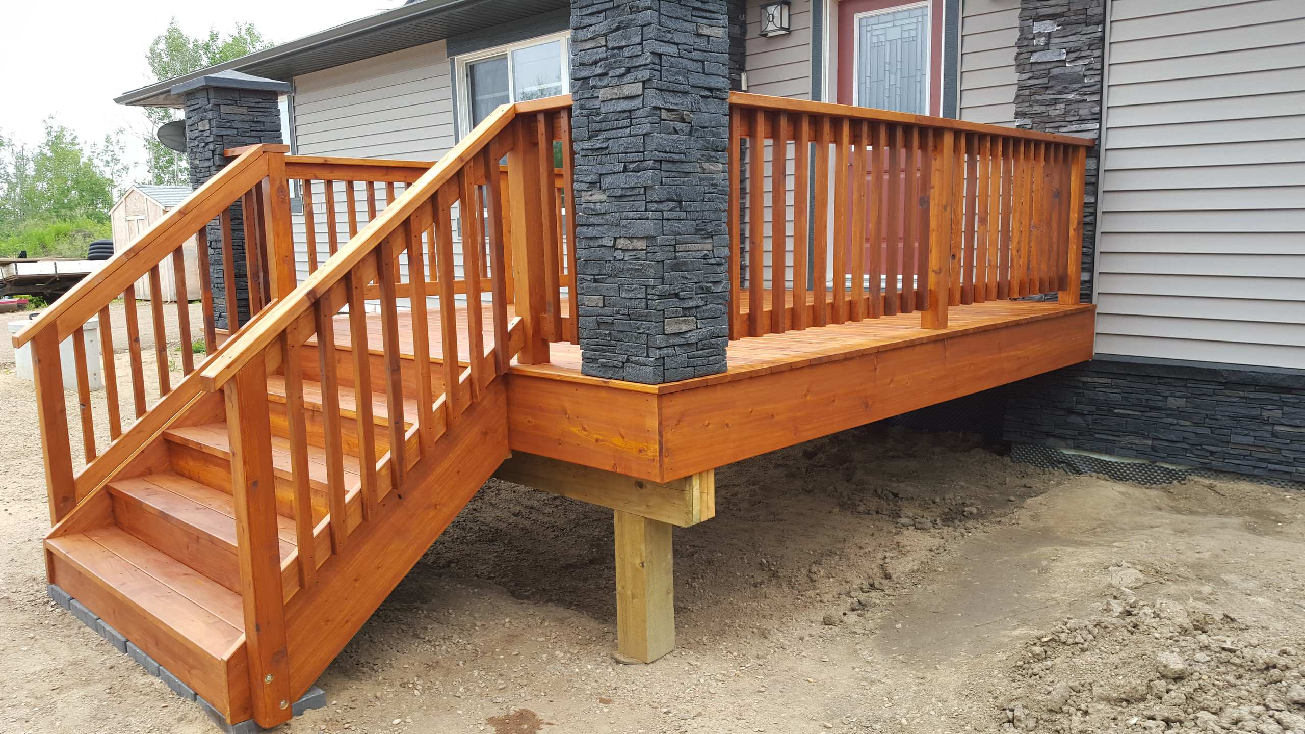 Cedar Deck Staining with Sansin, Redwater